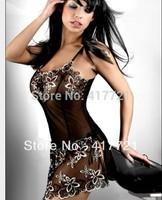 Free Shipping Transparent ML2091Sleeveless Hot Sleepwear Sexy Lingerie Flower Print Nightdress Robes Pajama Nightgown Women