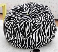 Free shipping round ball design zebra bean bag chair, relaxing beanbag cushion, lazy sofa recliner