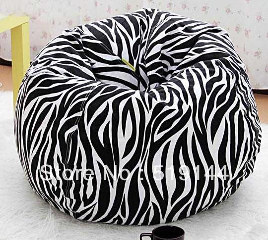 Grátis frete rodada bola zebra projeto saco de feijão cadeira almofada relaxante pufe sofá reclinável preguiçoso(China (Mainland))