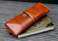 LZ free shipping Redivivus vintage leather pencil case pencil case portable storage bag cosmetic bag 7*21cm
