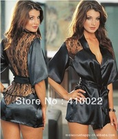 Sexy Lingerie sleepwear Black Satin Sleepwear Lace Detail Robe and G-String