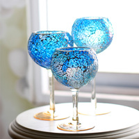 Mosaic goblet candle holder Wine fashion table decoration modern home decoration romantic glass candlestick Christmas orders