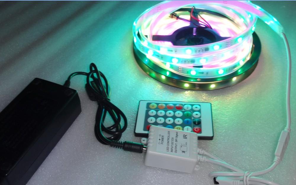 5m DC12V WS2811 30leds/m IP68 LED strip+24key IR pixel controller+12V/3A power adaptor(China (Mainland))