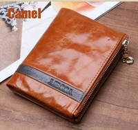 Free shipping ladies purse100%Oil wax genuine leather woman's Cowhide Short wallet top quality BY102 money clip card holder
