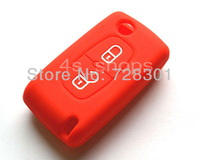 Red Silicone Case Cover Holder Protecting Bag Fit For Citroen  C1 C2 C3 C4 C5 C6 C8 C-Quatre XSARA PICASSO With 2 Buttons