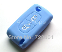 Blue Silicone Case Cover Holder Protecting Bag Fit For Citroen  C1 C2 C3 C4 C5 C6 C8 C-Quatre XSARA PICASSO With 2 Buttons