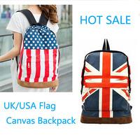 Fashion women Unisex Punk School Book Campus rucksack UK/USA Flag Canvas Backpack travel/Hiking vintage printing backpack