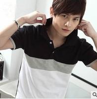 2014 new fashion brand  black cotton slim polo shirt men  short sleeve casual high quality polo shirt