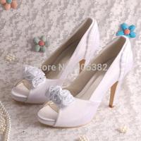 Custom Handmade Top Selling High Heels Designer Womens Bridal Shoes Wedding Fashion White  2014