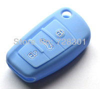 Blue Silicone Key Case Cover Holder Protecting Bag For Audi Flip Key A3 A4 A6 A4 Quattro A6 Quattro Q7 S6 TT Quattro