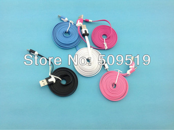 Fedex shipping  n  100 pcs/lot 2M colorful Noodle flat  V8 micro usb data charger cable for Samsung&htc& nokia etc