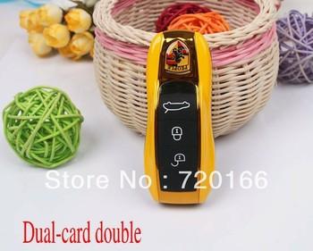 Wholesales 50pcs/lot cheaper Mini Car Key Cell Phone 911 Sport car mobile phone Quad band Dual SIM GSM Phone DHL Free shipping