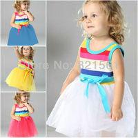 girl stripe Rainbow dresses girl's Sleeveless sundress Princess dresses  bowknot dresse childrens clothing