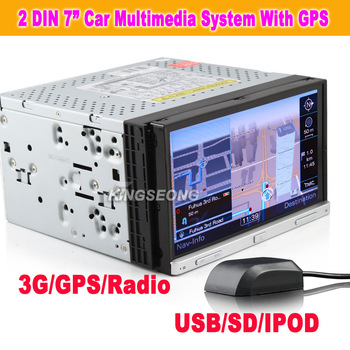 "7"" 2 din Autoradio HD Car DVD USB SD CD Player With GPS Sat Nav iPod TV SWC BT RMVB Free shipping KS7050"
