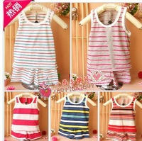2013 Wholesale children summer clothing sets 5 sets/lot baby's casual summer clothes suit t-shirt +short  pants