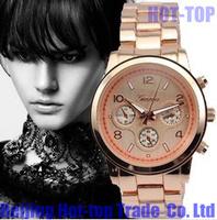 2013 Hot-selling Geneva New fashion all Stainless steel strip band unisex  ladies' quartz watch men watches women wristwatches