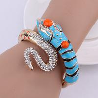Fashion European Gold Plated Metal Blue Enamel Clear Rhinestone Snake Cuff Bracelet Bangles 5Pcs/lot