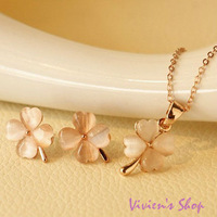1 set Free shipping Romantic Opal Rose Gold Jewelry Set Opal Clover Necklace Earrings Set AJS023