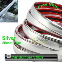 Free Shipping 16.4ft*1inch chrome silver strip decoration trim car exterior interior bumper decoration adheresive stripe