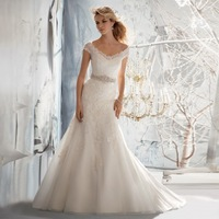 V-neck Off-shoulder Lace And Tulle Gorgeous Mermaid Wedding Dresses China Free Shipping