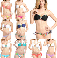 New 2014 Women Padded Swimsuit rhinestone Sexy Bikini Set With Panty Girls Floral Swimwear 9 Colors S/M/L Free Shipping
