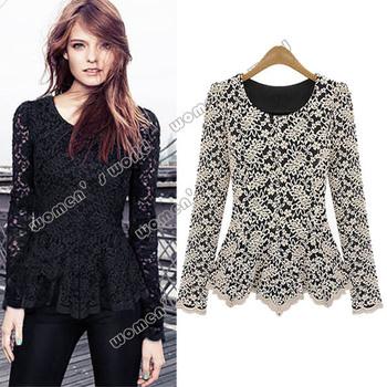 Hot sale Women's Casual Long Sleeve Hollow Floral Design Lace shirt  Top Blouse Black/ White 10169 b008