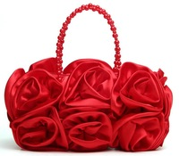 Hot Sale Rose Shape Lady Evening Bag Full Dress Party/Wedding Clutch Girl Handbag Woman Purse/Totes