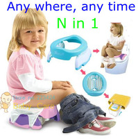 N in 1 multi-function baby child folding portable toilet travel potty trainer seat 10 disposable urinal bag non-slip durable