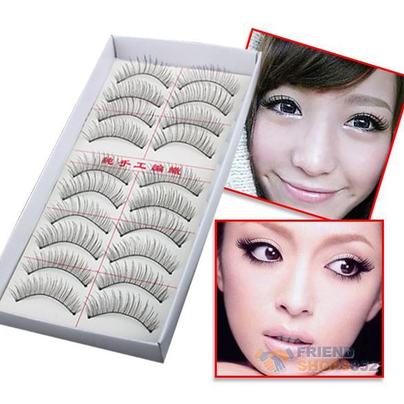 Hot Lot of 10 Pairs Thin Fake False Eyelashes Natural Long Eye Lash Clear Makeup Tool Free Shipping(China (Mainland))