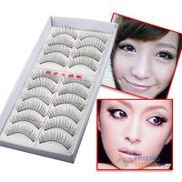 Hot Lot of 10 Pairs Thin Fake False Eyelashes Natural Long Eye Lash Clear Makeup Tool Free Shipping