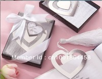 10pcs/lot,Free shipping Heart Silver Bookmark favours with Silk Tassel,Wedding Collections Bookmark Shower favors and gifts