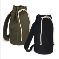 Free Shipping Men 2013 canvas bag canvas drawstring bucket bag student backpack man bag