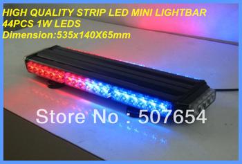 High quality DC12V 44PCS*1W Led Mini light bar/warning lightbar/led strip light,8flash pattern Magnetic base,warerproof
