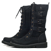 Free Shipping Autumn Male High Shoes Riding Boots Trend Boots Men's Boots Black RG1309004