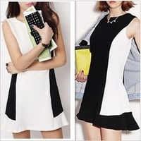 Free shipping 2014 New Fashion Women Casual Cute Dress Two Colors Black White Hight Quality #12641