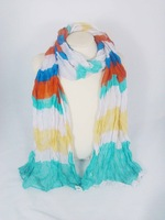 2014 new spring fashion lady stripe scarf, retail & wholesale polyester voile braided packaged scarf