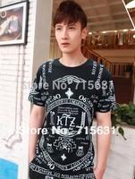 2014 ktz Shirt Men Fashion Summer Black Letter Print Loose Tee ktz Short-Sleeve Les T-Shirt , Black White M L XL
