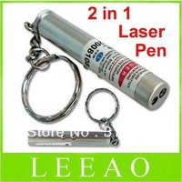 10pcs/lot # Mini 2 in 1 White 1 LED Light Red Pen Laser Pointer Keychain Key chain Flashlight Lamp Torch pet dog Toy Toys