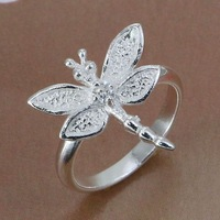 R017 Size:6,7,8,9 Wholesale 925 silver ring, 925 silver fashion jewelry, Inlaid Dragonfly Ring /bwvakocatf