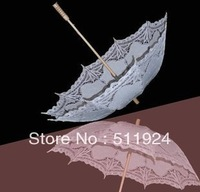 Free Shipping Lace Fan And Wedding Umbrella women's disegners Lace Parasol Sun Umbrella in White Handmade