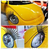 2pcs/lot free shipping Fashion Car Eyelashes PVC Logo Stickers Lashes Decal Accessories new design