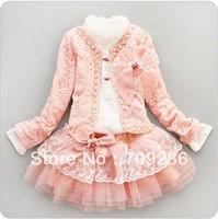 Retail- baby girl sets three-piece dress(top+t shirt+dress) child clothes set,infant tee shirt+coat+dress set