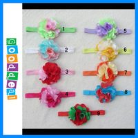 Free Shipping New Arrival 3inch Colorfule Chiffon Flowers + Shimmer elastic headbands hair accessory Baby hairbands 9pcs/lot