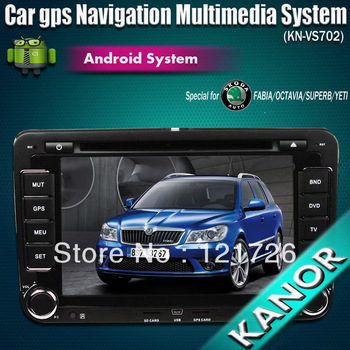Free Shipping 2 Din Android 4.0 Car DVD radio multimedia player gps navigation bluetooth system For Skoda Octavia Yeti Fabia