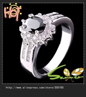 Sz5/6/7/8/9/10 Brand new  retro black sapphire men's& lady's 10KT white Gold Filled Ring