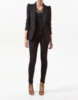 Free shipping new 2014 fashion blazer women spring summer long sleeve single breasted blazer jacket black red T203