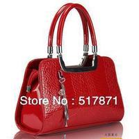 Free shipping women's leather brand designer handbag japanned leather genuine leather formal crocodile pattern ladies handbag