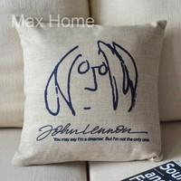 "Free Shipping 18"" John Lennon Stick Figure Portrait Retro Vintage Style Linen Decorative Pillow Case Pillow Cover Cushion Cover"