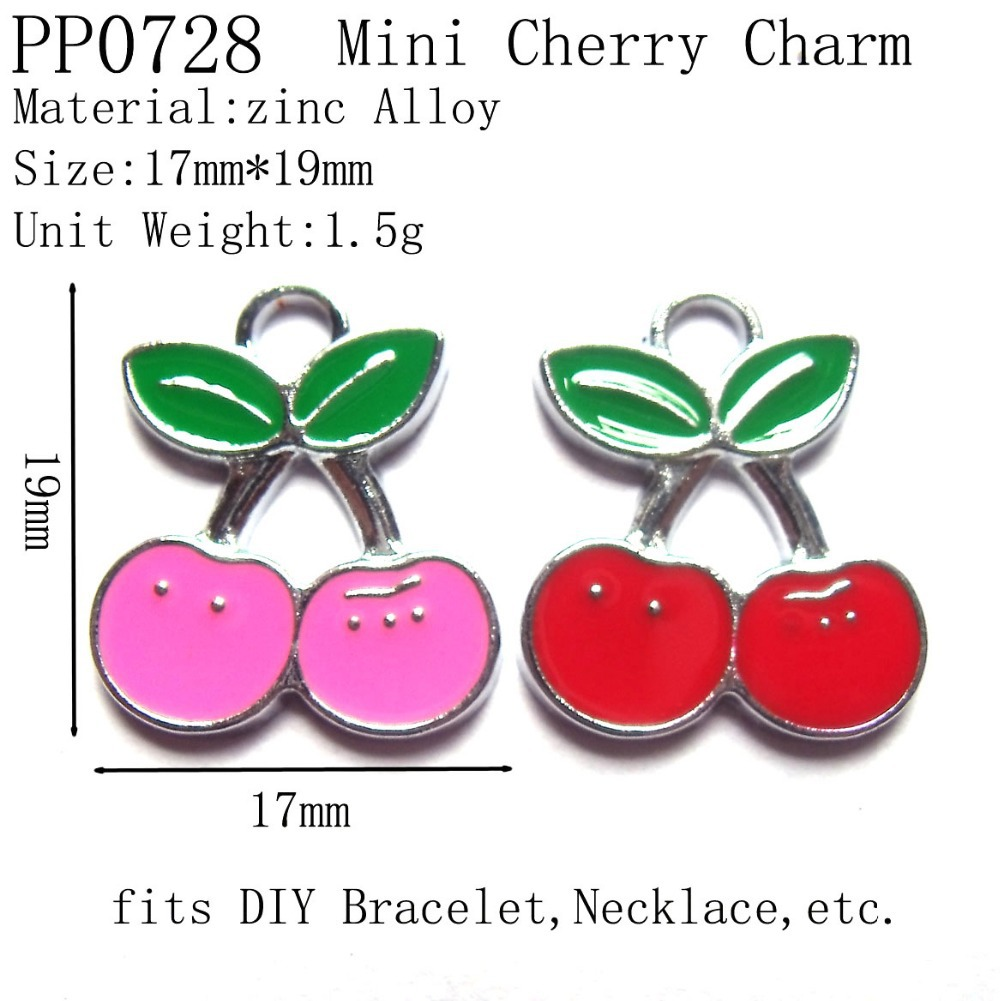 19mm Vogue Enamel Chrome Plated Metal Cherry Charms,Fashion Alloy DIY Fruit Charms,Free Shipping Wholesale 50pcs/lot(China (Mainland))