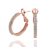 2014 New! Wholesale High Quality Plated 18K Rose Gold Austrian Crystal Earrings Fashion Gifts for Women 18KGP E389